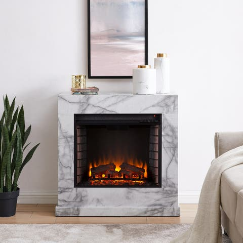 Dejon Contemporary White Stone Electric Fireplace