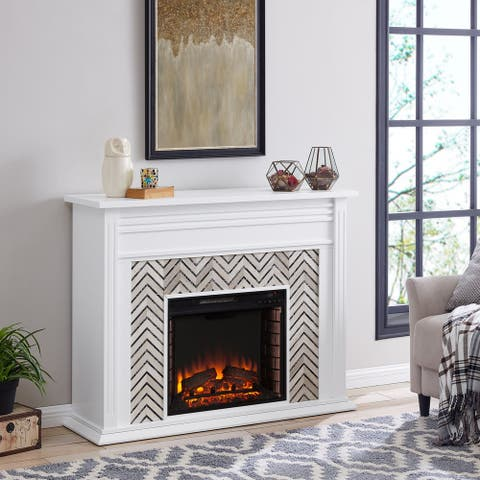 Heidi Contemporary White with Marble Electric Fireplace