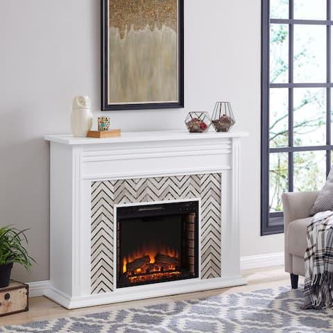Harper Blvd Heidi Contemporary White Wood Electric Fireplace