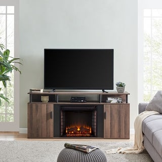 Lanson Modern Farmhouse Brown Wood Electric Fireplace Media Console