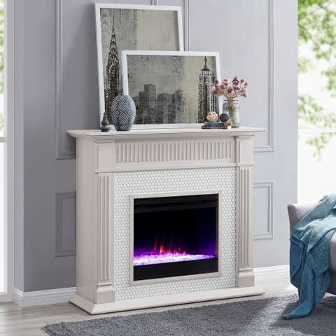 Chase Contemporary Gray Wood Color Changing LED Fireplace