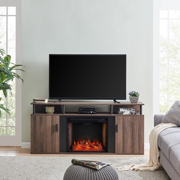 Lanson Farmhouse Alexa Enabled Smart Fireplace Media Console