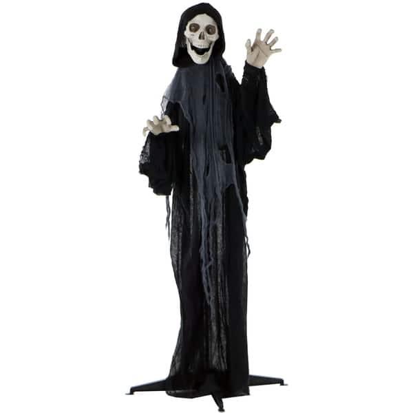 "72/"" Hanging Animated Grim Reaper Prop Lights Up Eyes Talks Halloween Decoration"