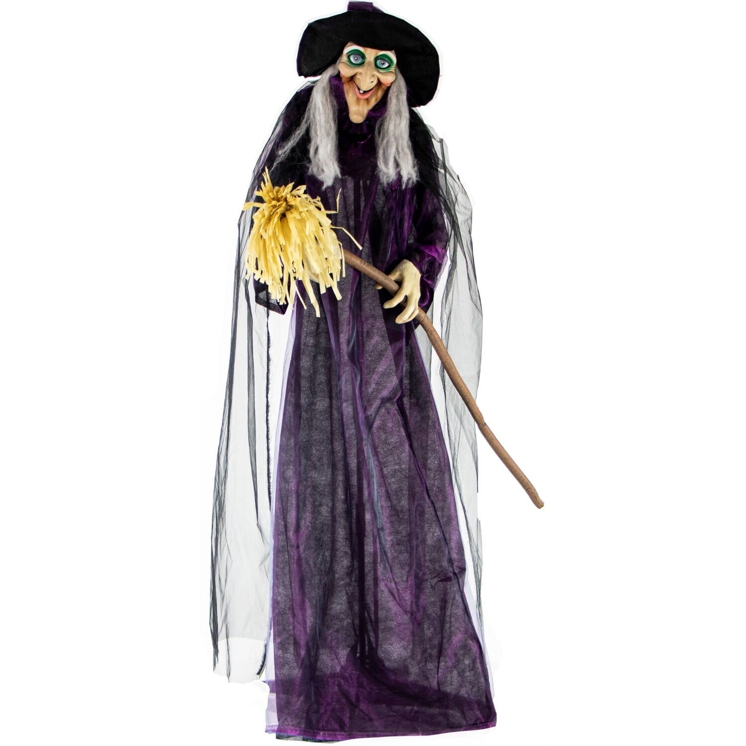 Life Size Animated Talking Witch w Broomstick & Rotating Body for Indoor or Outdoor Halloween Decoration Battery Operated