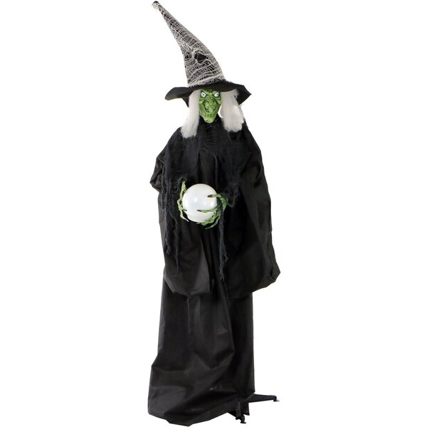 Life-Size Wicked Witch w/ LED Crystal Ball for Indoor/Outdoor Halloween Decor. Opens flyout.