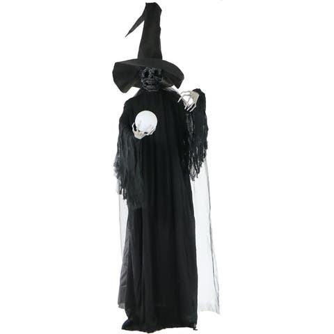 Life-Size Phantom Witch w/Battery-Operated Multi-Color Crystal Ball & Strobe Light for Indoor / Outdoor Halloween Decoration