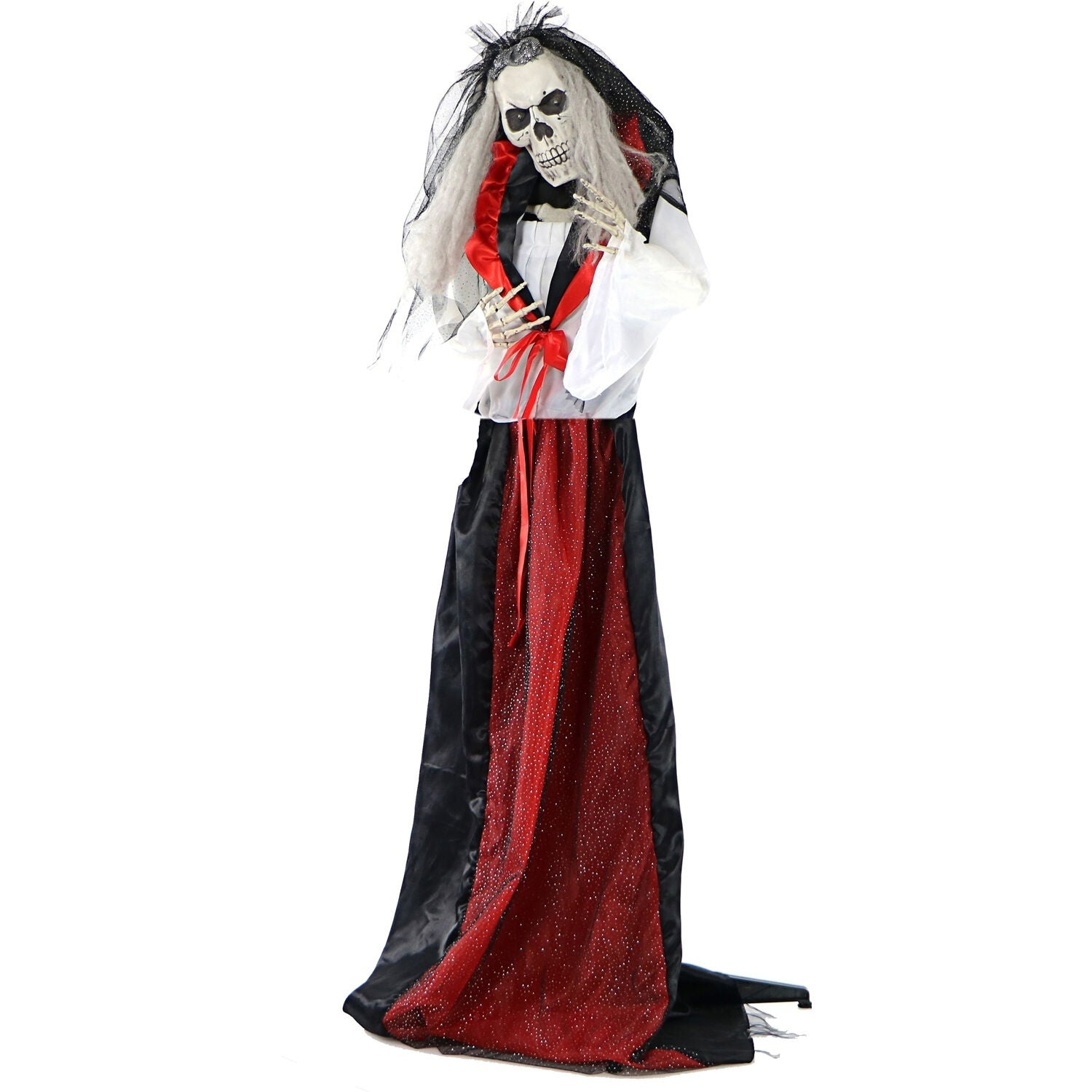 Life Size Animated Moaning Skeleton Bride Prop w Flashing Red Eyes for Indoor Outdoor Halloween Decoration Battery Operated