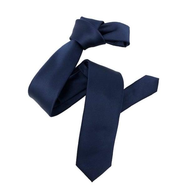 Dmitry Mens Navy Italian Silk Solid Skinny Tie