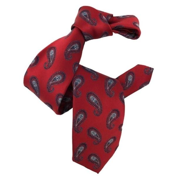 DMITRY Mens Red Paisley Italian Silk Tie