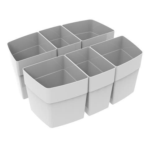 Storex Sorting Cups for Large Caddy, Set of 6, Gray