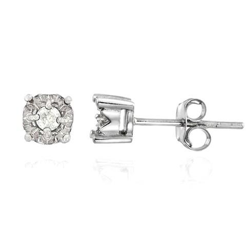 DB Designs Sterling Silver Diamond Stud Earrings