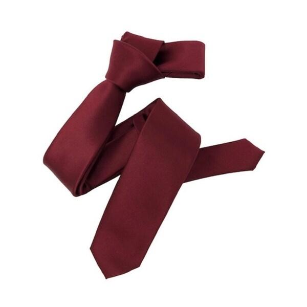 Dmitry Mens Burgundy Italian Silk Solid Skinny Tie
