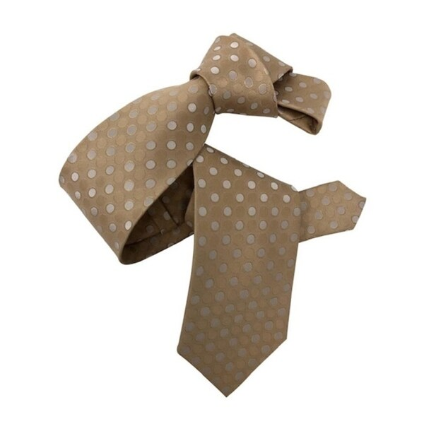 DMITRY Mens Tan Polka Dot Italian Silk Tie