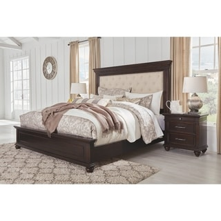 Brynhurst King Upholstered Bed with Storage Kit - Dark Brown - N/A