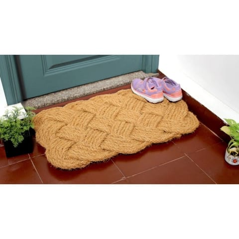 """RugSmith Natural Handcrafted Handknotted Coir Doormat, 18"""" x 30"""""""