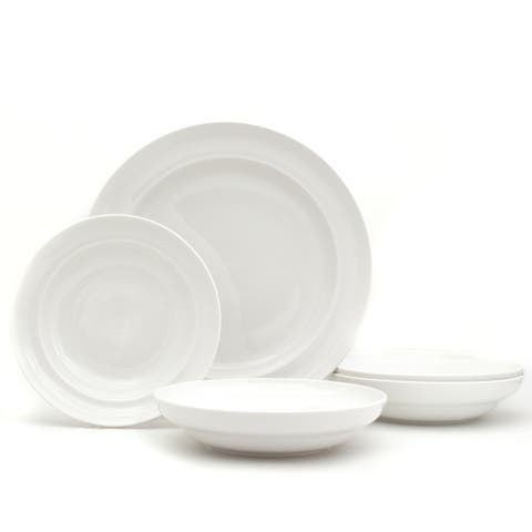 Euro Ceramica White Essential 5-Piece Pasta Bowl and Serve Set
