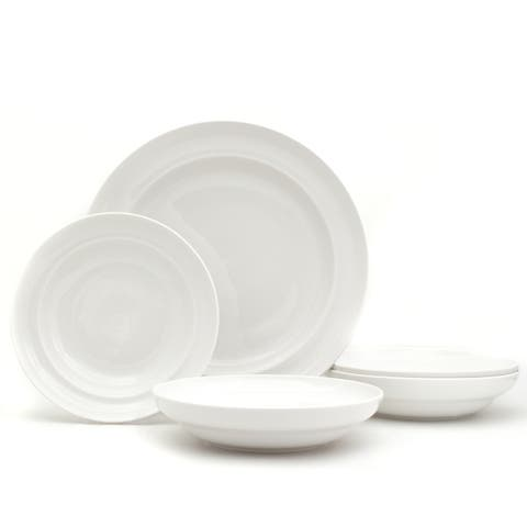 Euro Ceramica White Essential Pasta Bowls and Serve Set