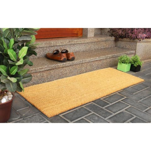 "RugSmith Natural Machine Tufted Coir Doormat, 18"" x 48"""