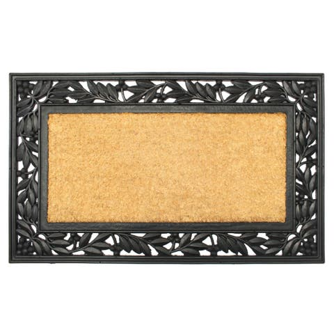 """RugSmith Natural Black Moulded Holly Trellis Rubber Coir Doormat, 18"""" x 30"""""""