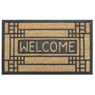 """RugSmith Natural Black Moulded Rubber Coir Welcome Doormat, 18"""" x 30"""""""