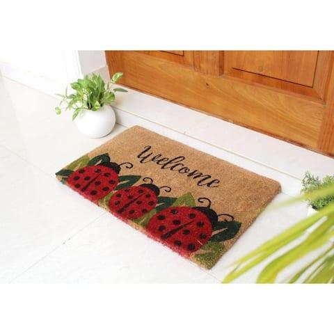 "RugSmith Red Handloom Woven & Printed Ladybug Coir Doormat, 18"" x 30"""
