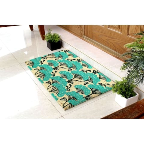"""RugSmith Ice Green Machine Tufted Blue Floral Coir Doormat, 18"""" x 30"""""""