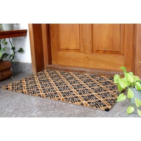 "RugSmith Natural Black Machine Tufted Geo Diamond Coir Doormat, 24"" x 36"""