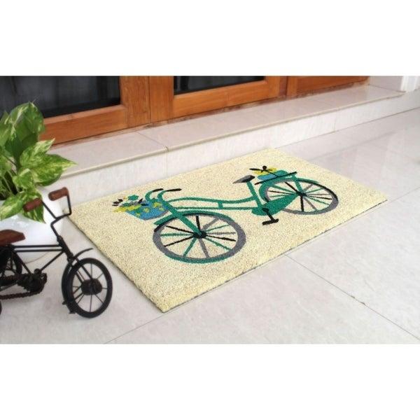 "RugSmith Blue Machine Tufted Floral Basket Bike Coir Doormat, 18"" x 30"". Opens flyout."