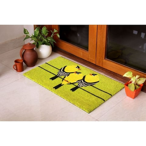 "RugSmith Light Green Machine Tufted Goldfinch Coir Doormat, 18"" x 30"""