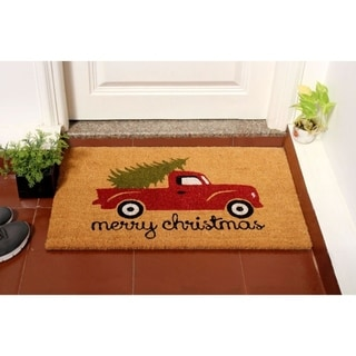 """RugSmith Red Machine Tufted Merry Christmas Truck Coir Doormat, 18"""" x 30"""" - N/A"""