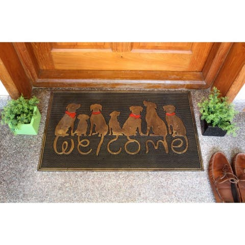 """RugSmith Black, Gold Moulded Dog Welcome Rubber Doormat, 18"""" x 30"""""""