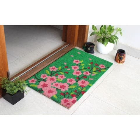 """RugSmith Green Machine Tufted Pink Floral Tree Coir Doormat, 18"""" x 30"""""""