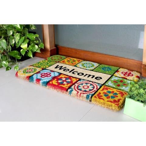 "RugSmith Bleah Handloom Woven & Printed Welcome Folk Tile Rubber Doormat, 18"" x 30"""