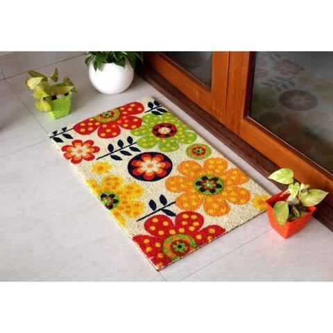 """RugSmith Bleach Machine Tufted Folk Flowers Coir Doormat, 18"""" x 30"""""""