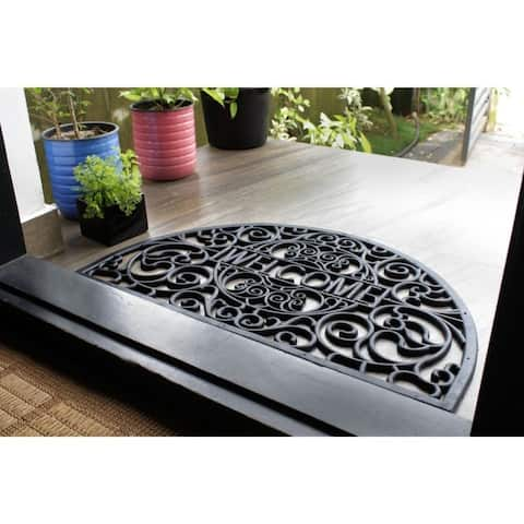 """RugSmith Black Moulded Scroll Welcome Haf-round Rubber Doormat, 18"""" x 30"""""""