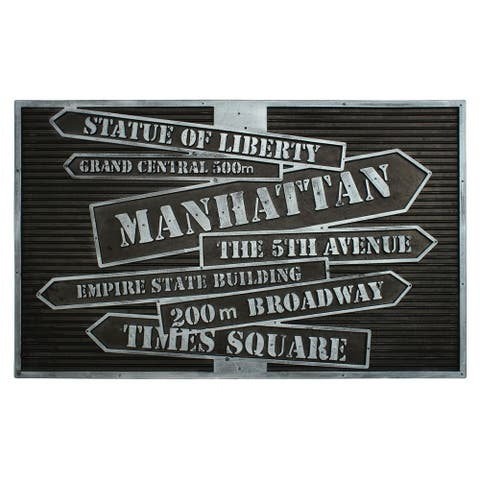"""RugSmith Black, Silver Moulded NYC Signs Rubber Coir Doormat, 18"""" x 30"""""""