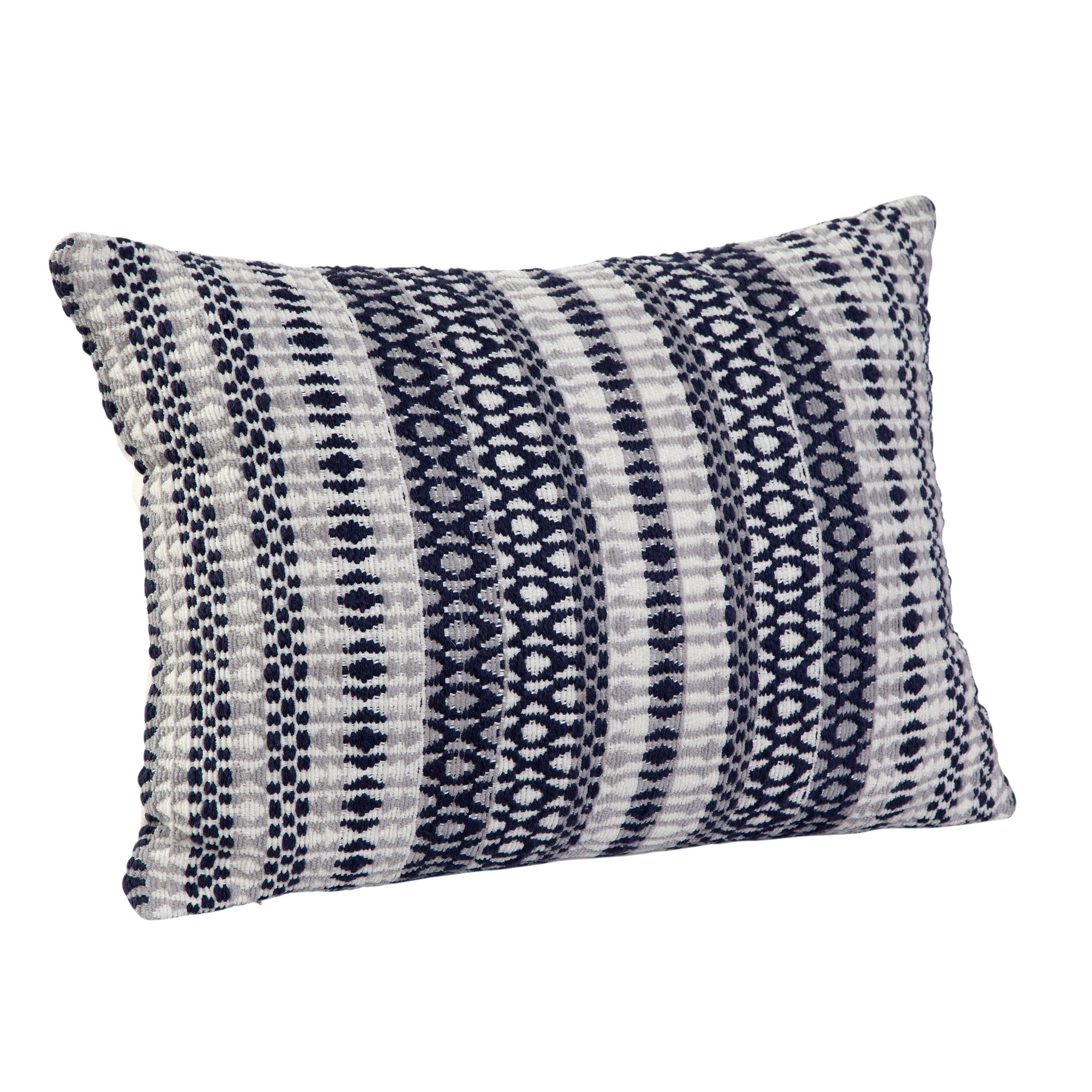 Shop Lazzelle Navy/White/Grey Throw Pillow by Greyson Living