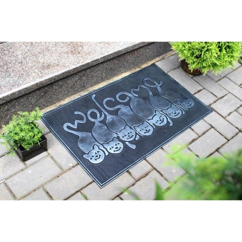 """RugSmith Black Moulded Kitty Welcome Rubber Doormat, 18"""" x 30"""""""