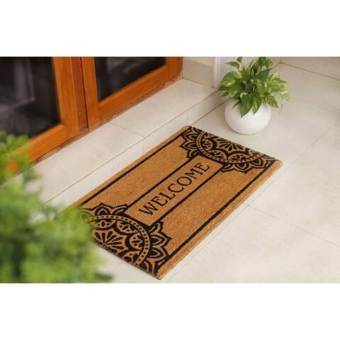 "RugSmith Black Machine Tufted Mandala Welcome Coir Doormat, 18"" x 30"""