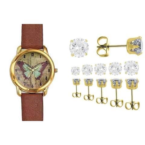 Vintage Butterfly Dial Watch Set 6 Pairs Crystal Earrings