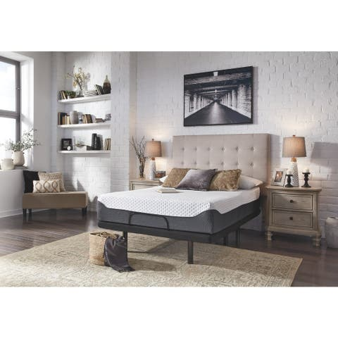 Signature Design by Ashley Chime Elite 12 Inch Memory Foam Mattress with Head-Foot Model-Better Adjustable Bed Frame