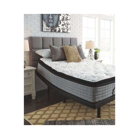 Signature Design by Ashley Mt Rogers 16 Inch Plush Pillowtop Mattress with Head-Foot Model-Good Adjustable Bed Frame