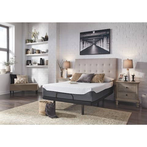 Signature Design by Ashley Chime Elite 12 Inch Memory Foam Mattress with Head-Foot Model-Best Adjustable Bed Frame