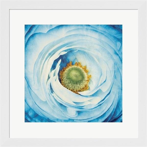 Aledanda 'White Peony with Blue' Framed Art