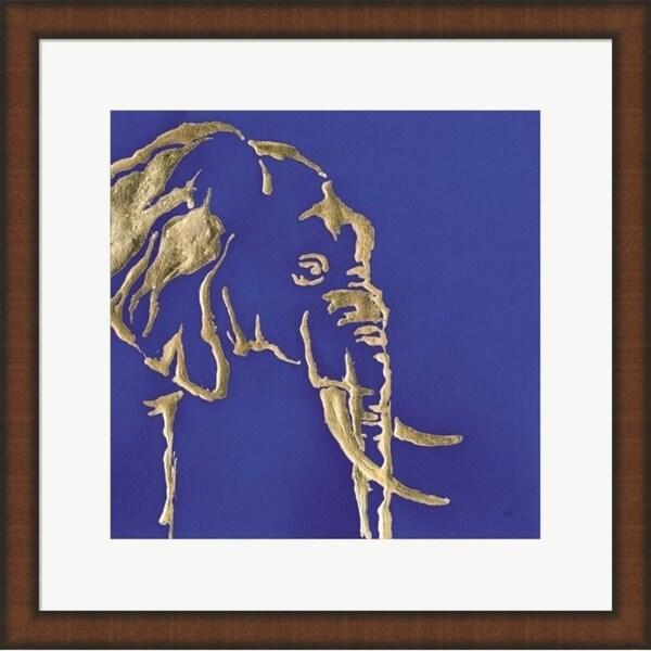 Chris Paschke 'Gilded Elephant Indigo' Framed Art