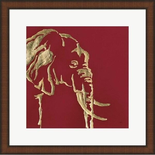 Chris Paschke 'Gilded Elephant on Red' Framed Art
