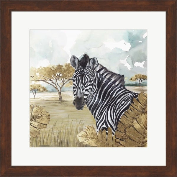 Eva Watts 'Golden Zebras' Framed Art