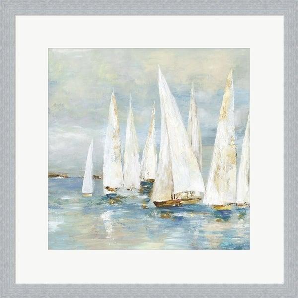 Allison Pearce 'White Sailboats' Framed Art