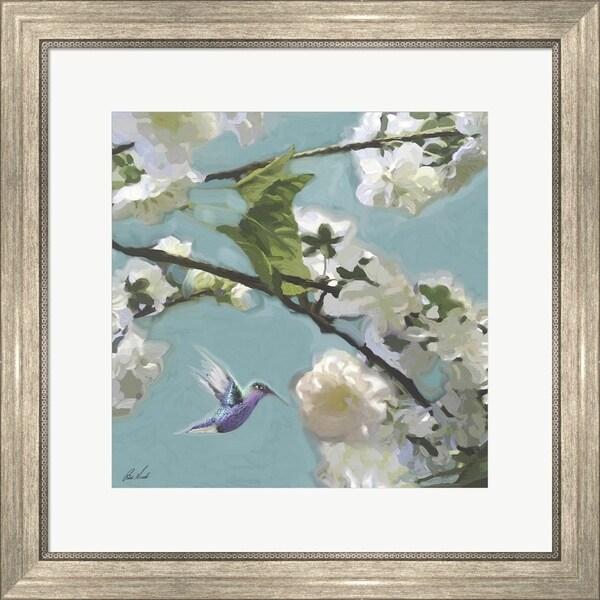 Rick Novak 'Hummingbird Florals II' Framed Art