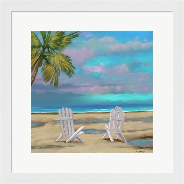 Rick Novak 'Beach Chairs 1' Framed Art